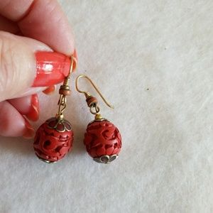 "Carved Oriental Cinnabar 1-1/2"" DANGLE earrings"
